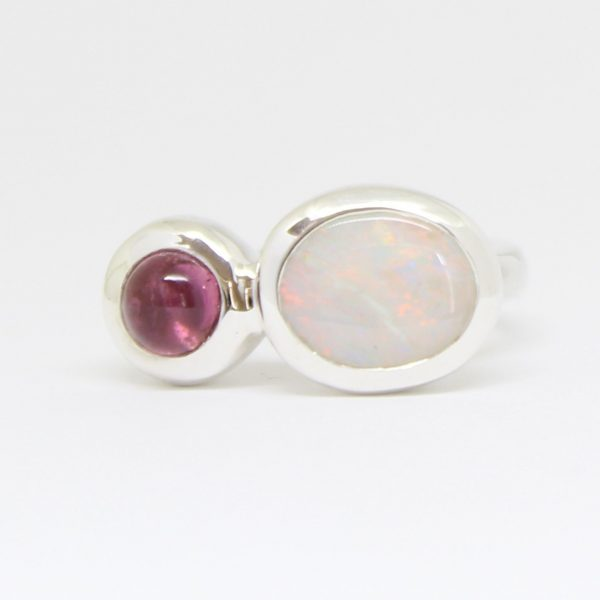 Natural light opal and tourmaline ring set in sterling silver