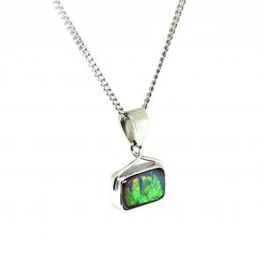 18CT 18K WHITE GOLD NATURAL SOLID 1.50CT BOULDER OPAL PENDANT MADE IN AUSTRALIA