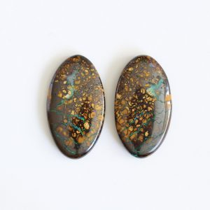 29X16MM 38.09CT AUSTRALIAN NATURAL SOLID BOULDER OPAL LOOSE STONE PAIR YOWAH