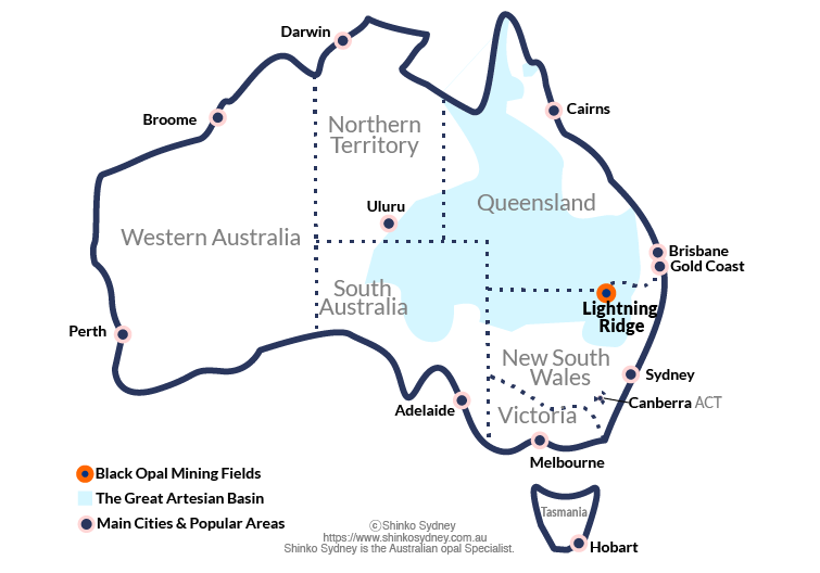 Australia Black Opal mining fields map