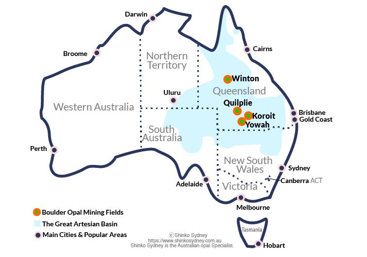 Australian Boulder Opal Mining Fields map