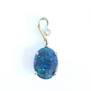 Natural solid black opal pendant 1.32ct set in 18ct white gold