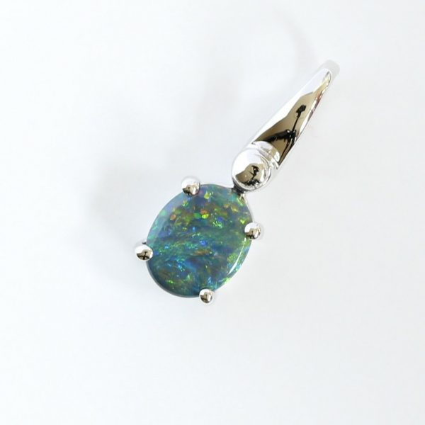 18CT 18K WHITE GOLD NATURAL SOLID BLACK OPAL 0.64CT PENDANT