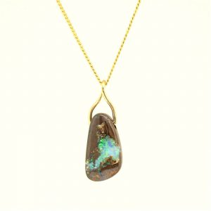 18CT 18K YELLOW GOLD NATURAL SOLID 12CT BOULDER OPAL PENDANT MADE IN AUSTRALIA