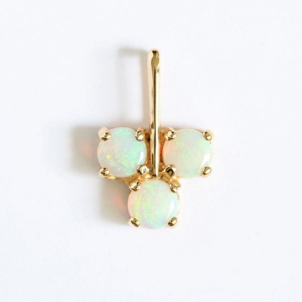 SOLID WHITE /LIGHT OPAL PENDANT SET IN 18CT YELLOW GOLD