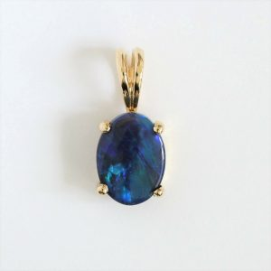 18CT 18K YELLOW GOLD NATUTAL SOLID AUSTRALIAN BLACK OPAL 0.73CT PENDANT PLAIN