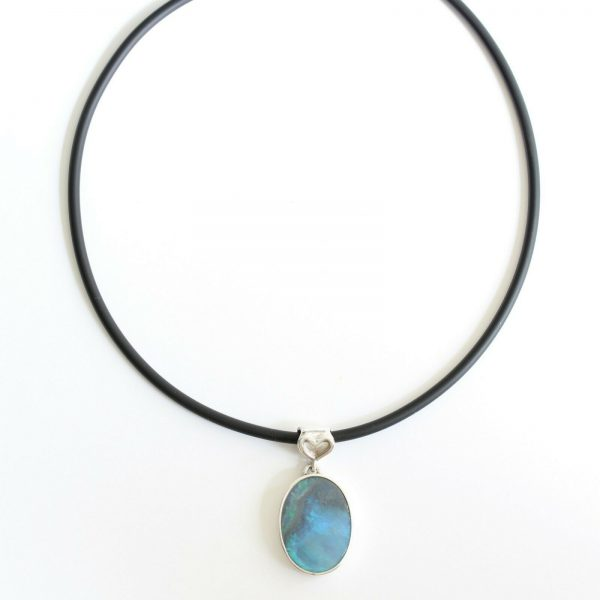 Natural solid black opal 11.61ct set in sterling silver and rubber choker with freshwater pearl