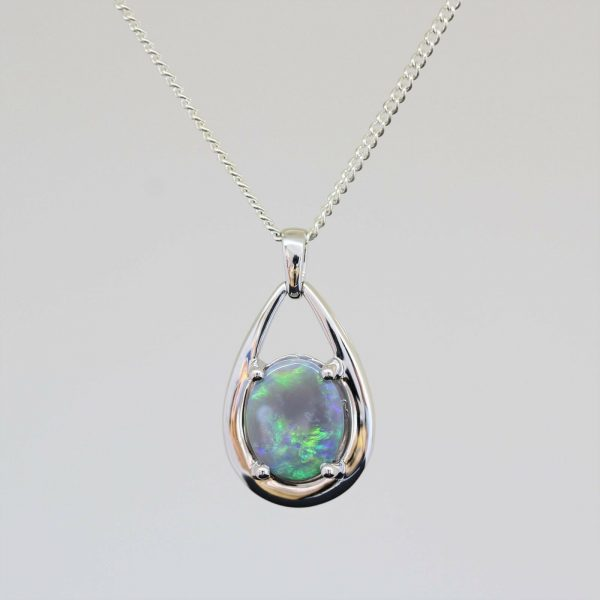 Natural solid black opal 1.85ct set in sterling silver