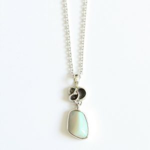 Natural solid white light opal 6.11ct set in sterling silver and chain with freshwater pearl handmade in Australia