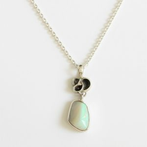 Natural solid white light opal 6.11ct set in sterling silverand chain with freshwater pearl handmade in Australia