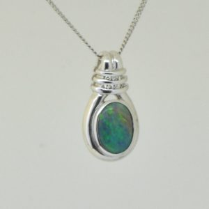 Solid 18ct 18k White gold Natural solid black opal 1.83ct pendant with diamonds